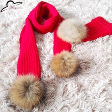 0-8 years old Scarves Knitted Cute Boys Christmas Children Girls Warm Real Raccoon Fur Pom Pom Winter Scarf Scarves