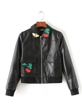 Kawaii Cherry Flag Leather Jacket Women 2016 Winter Patch Designs Turn-Down Collar Baseball Bomber Jacket Female Leather Jackets
