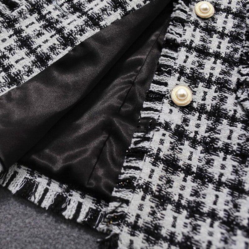 Plaid De Automne Veste Mince Parfum longueur Noir Revers blanc Tweed Femmes 2019 Petit Noir hiver Mi 58UqAwSc
