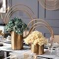Роскошное Золотое кольцо Металл комбинированный с цилиндрической цветочной вазой  ваза для сушеных цветов  горшок для дома  свадебные укра...