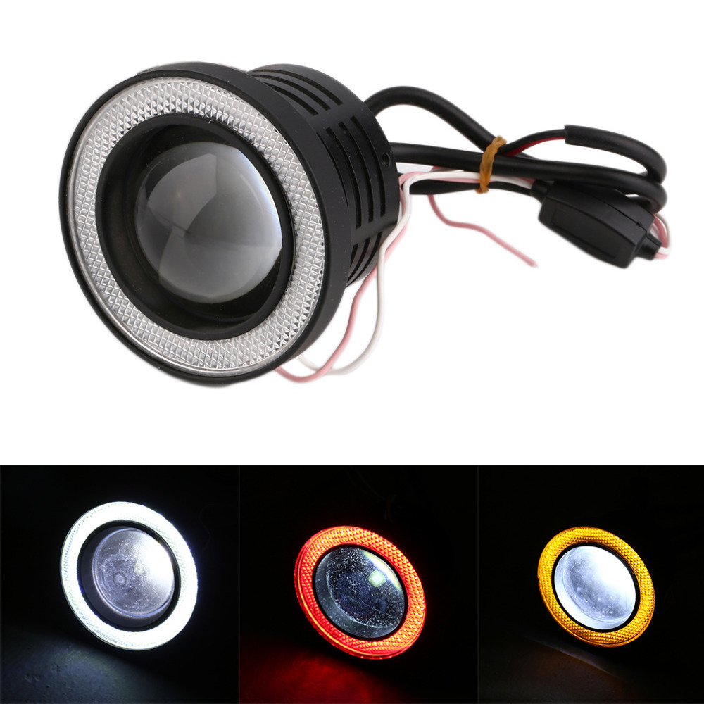 2016 Mini 3 Inch 1 PC Car Angel Eye COB Halo Ring LED DRL Projector Lens Fog Driving Light Free Shipping 2pcs 2 5 car angel eye cob ice blue halo ring led drl projector fog driving light