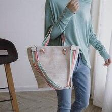 купить Women's Tote Bohemia Women's Straw Bag High Capacity Travel Tote. Bolsas flower summer beach bag wheat pole weaving по цене 1196.46 рублей