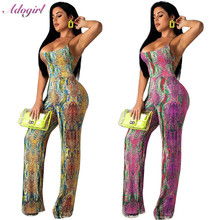 Sexy Lace Up Snake Skin Printed Overalls Jumpsuit Women Casual Backless Bandage Low Cut Romper Night Party Streetwear Playsuit low cut lace halter backless teddy