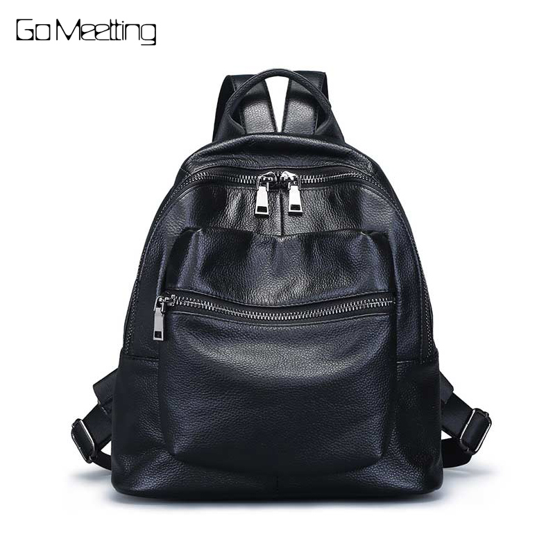 Genuine Leather Women's Shopping Backpacks Ladies' Daily Cowhide Backpack Female Girl's School Shoulder Bag Rucksack Mochila zoole brand genuine leather backpacks women school style cowhide travel bag ladies real leather backpack female designer mochila