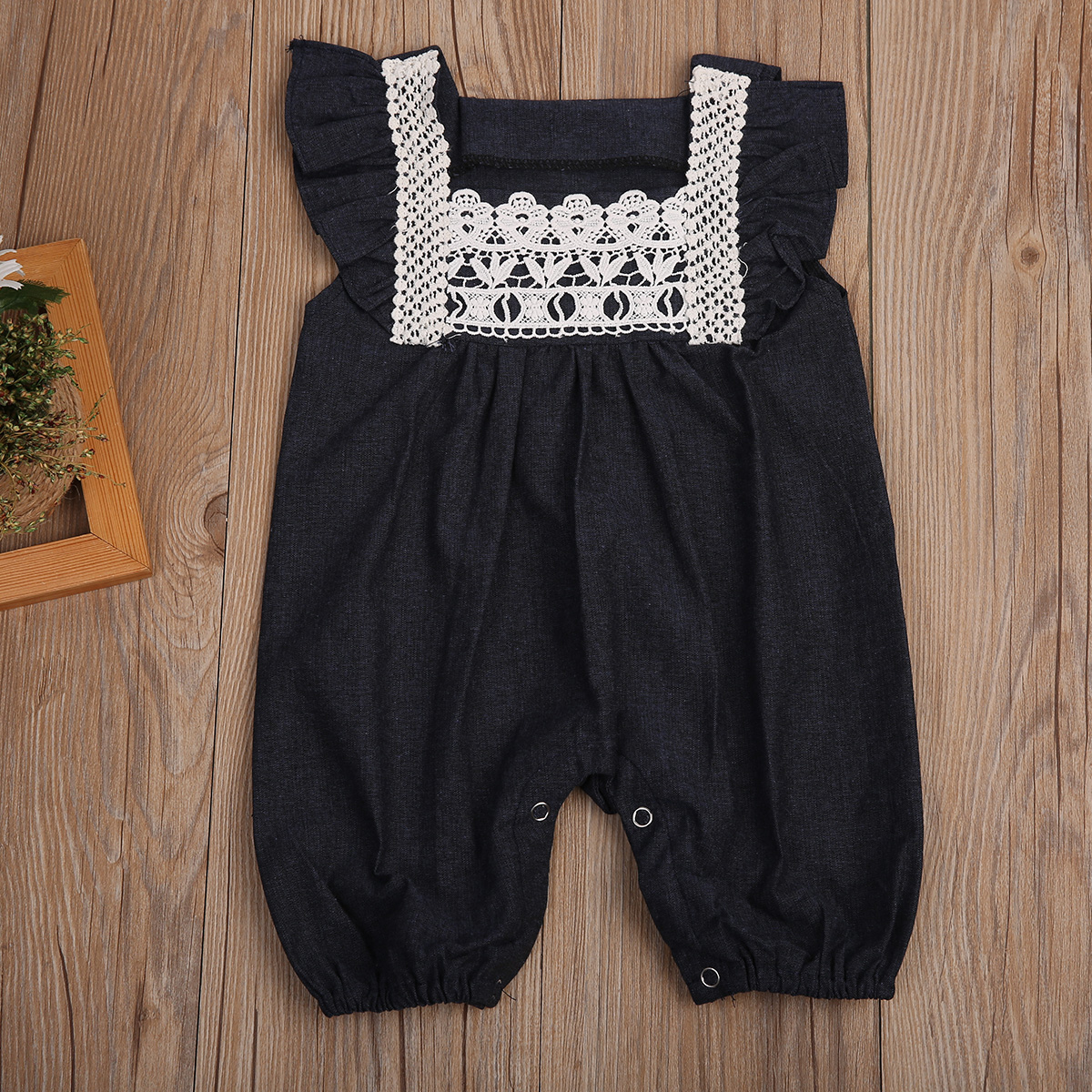 9ca21aa1e Cute Toddler Baby Kids Boy Girls Clothing Denim Lace Rompers Harem ...