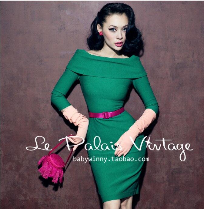 Le Palais Vintage robe d'été femmes vert solide imprimé Slim moulante crayon gaine robe épaule dénudée Vestido De Verano