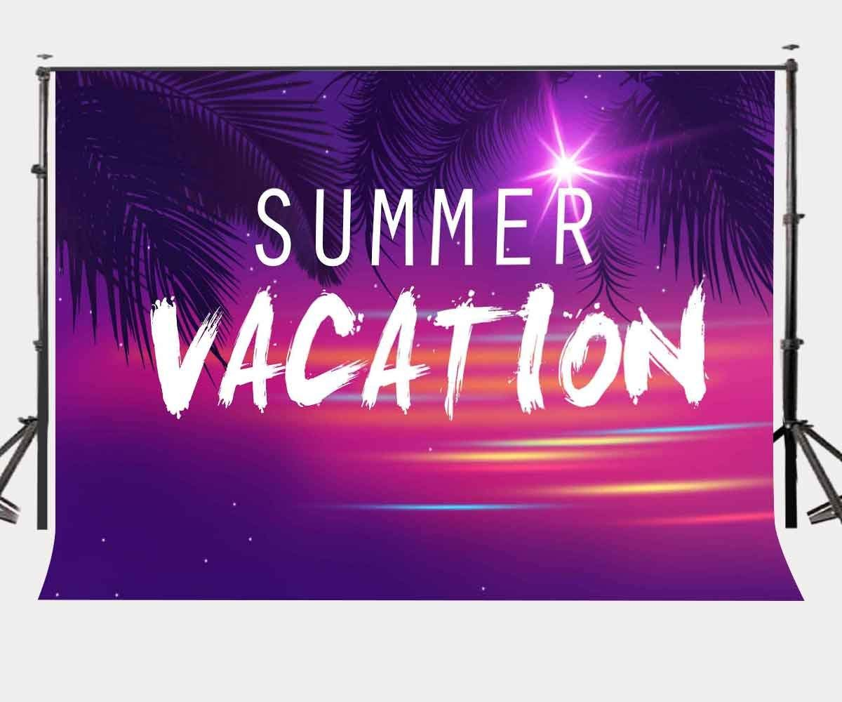 7x5ft Summer Vacation Backdrop Ultra Violet Color Photo Backdrops Coconut Tree Branch Photography Background Studio Props-in Photo Studio Accessories from Consumer Electronics
