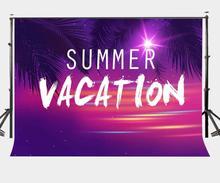 Fondo de vacaciones de verano de 7x5 pies telón de fondo de foto de Color Ultra violeta árbol de coco rama fotografía fondo de estudio Props
