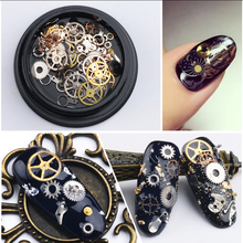 1Box Lot 3D Nail Art Decoration Alloy Thin Sheet Gears Design Charms Nails Accessories DIY Beauty
