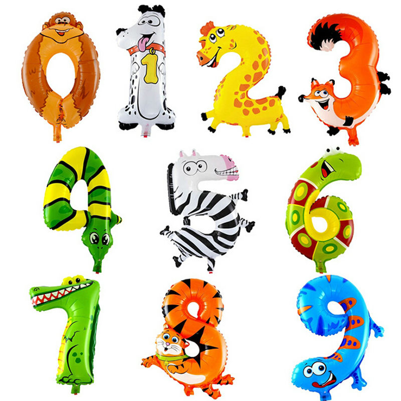 CCINEE 1Pcs Animal Number Foil Inflatable Balloons Wedding Happy Birthday Air Balloons Balloon Children Gifts Inflatable Toy