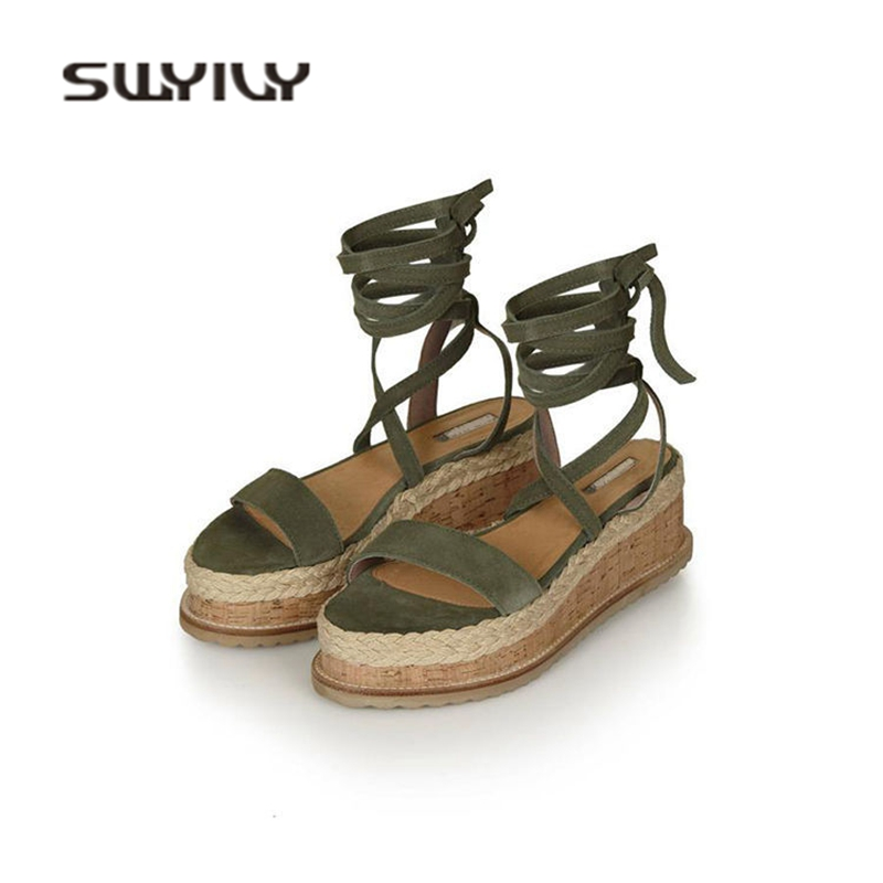 SWYIVY Woman Sandals Platform Bandage 2018 Summer Female Cork Sandals Shoes Europe Straw Hemp Wedge Summer Shoes Cross Strap cross cross suede wedge sandals