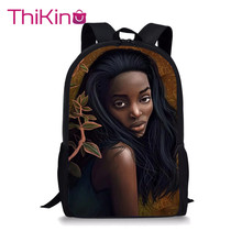 Thikin Young Afro American Girls for Students School Bag Teenagers Backpack Travel Package Shopping Shoulder Women Mochila