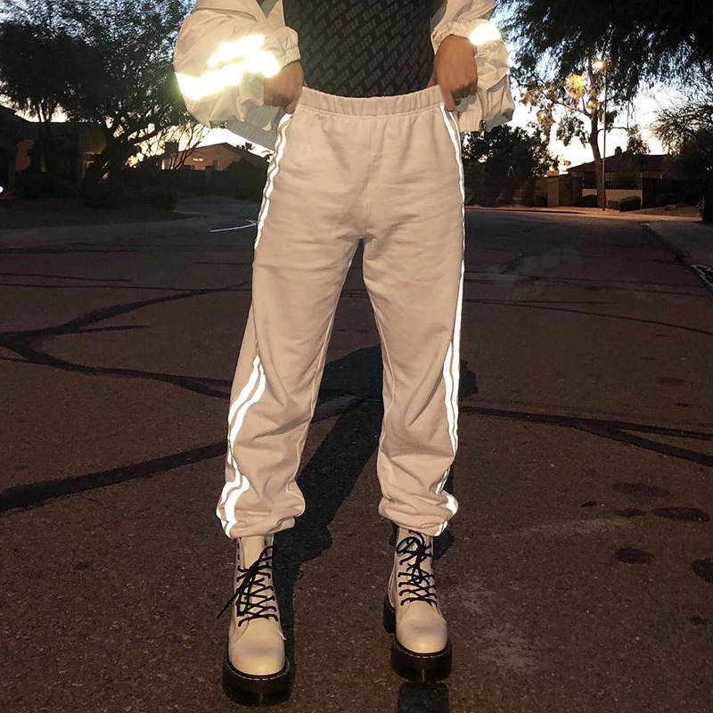 Women Reflective Harem   Pants   Elastic High Waist Pockets Cargo   Pants     Capris   Summer Streetwear Joggers Trousers Pantalon femme