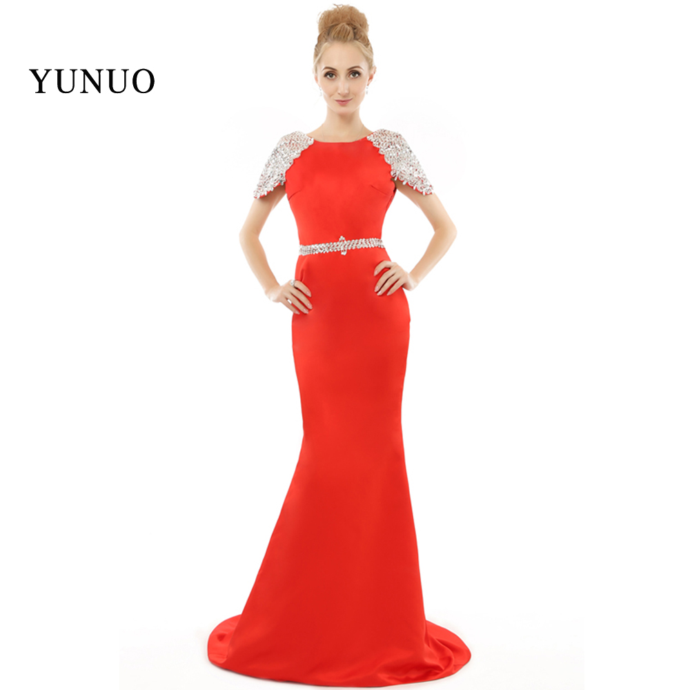New Arrival Sparkly Luxrury Crystals Beadings Cap Sleeve Backless Red   Evening     Dresses   Long Mermaid Satin Custom Made x08248