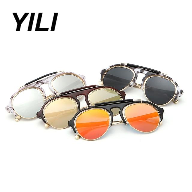 YILI Sunglasses Women Brand Designer Steampunk Sun Glasses Aviator Round Vintage Womens 2016 Sunglasses lentes de sol mujer