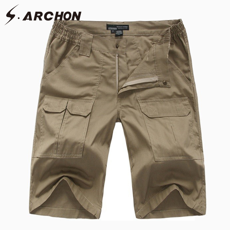 S.ARCHON Summer Casual Cotton Elastic Waterproof Military Cargo Shorts Men Rip Stop Breathable Multi Pockets Army Tactical Short