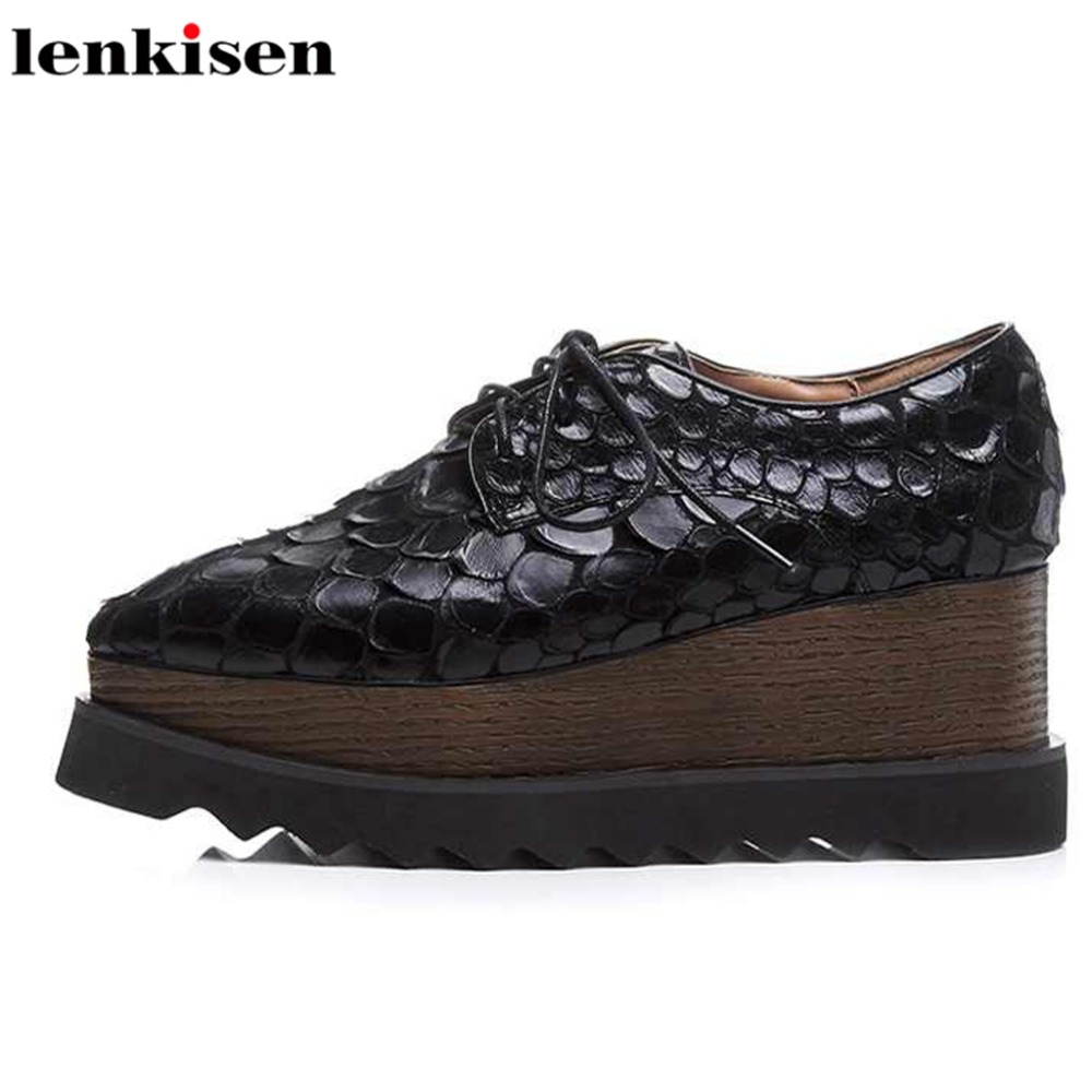 Lenkisen thick bottom lace up genuine leather platform square toe bling increased causal shoes wedge high heels women pumps L18