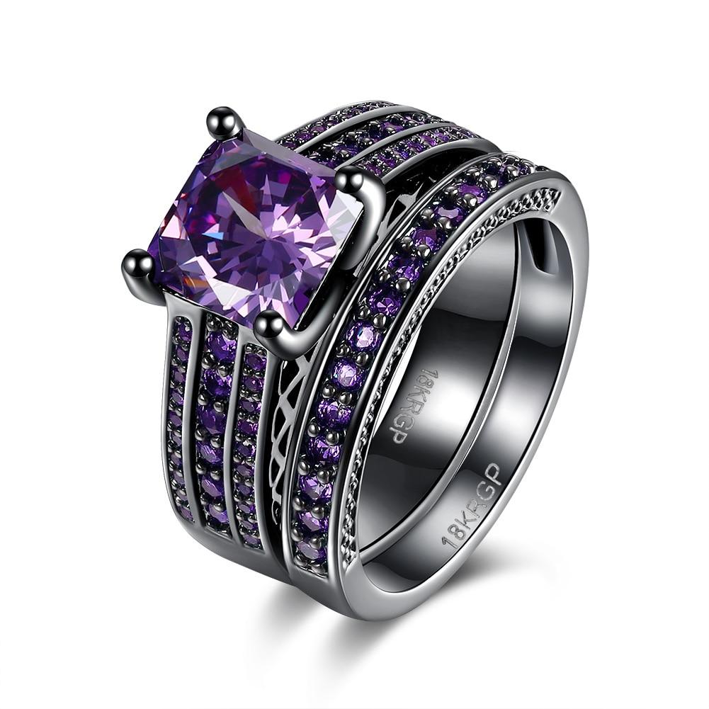 purple and black wedding ring set promotion-shop for promotional