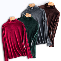 Gold Velour Half Turtleneck Basic Shirt Full Sleeve Women Top Autumn And Winter Warm Plus Size