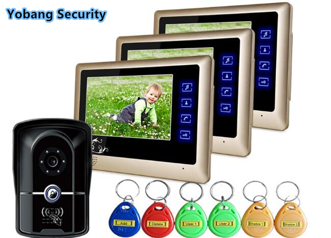 Yobang Security freeship 7inch Luxury Video Doorbell Phone house video intercom system for apartment villa 5 pcs RFID keyboard