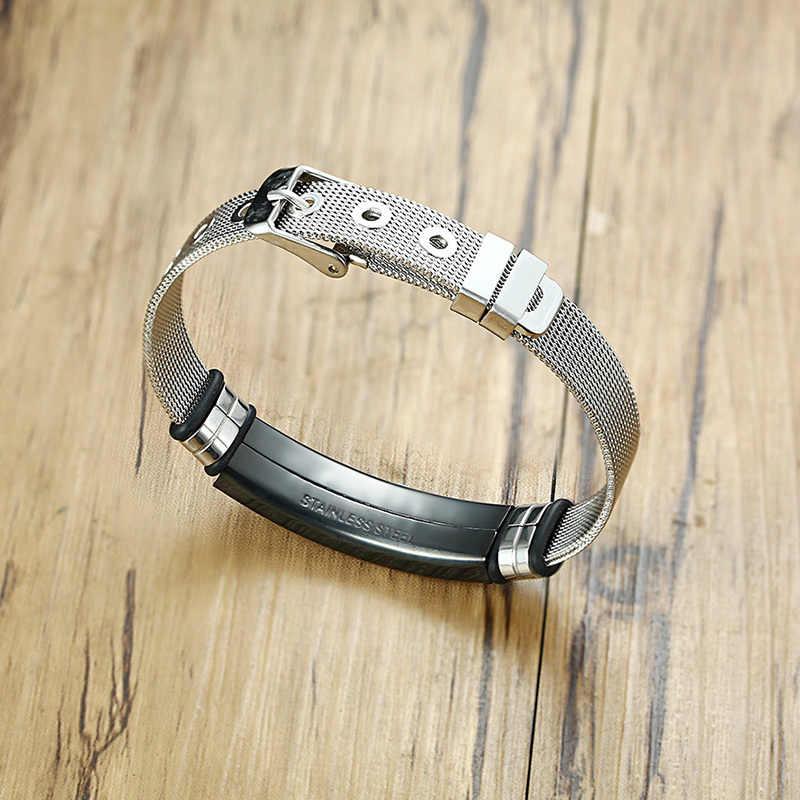 Custom Cross Men's Stainless Steel Bracelet Christian Lord's Prayer Personalized Adjustable Male Bangle Dropshipping