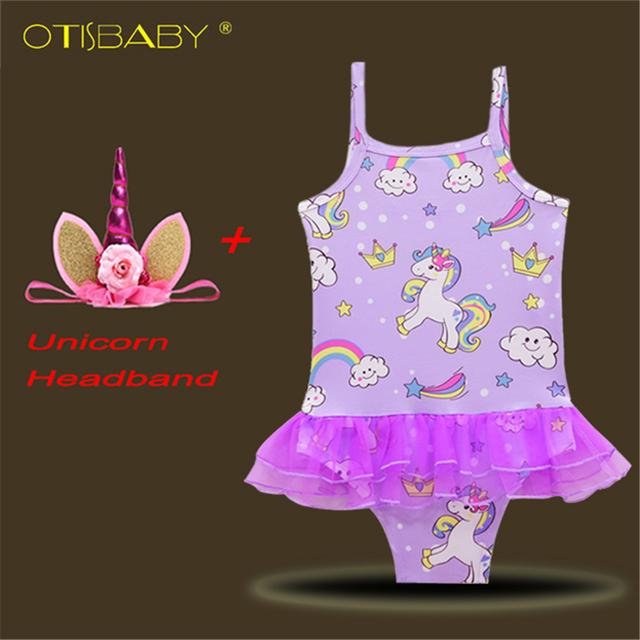 Girls Rainbow Unicorn Swimsuit & Unicorn Headband Children Bikini Set Kids Tulle Skirt Little Pony Beach Wear Baby Horse Clothes
