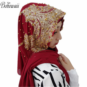 Image 3 - BOHOWAII Muslim Jersey Hijab 25colors Femme Musulman Gold Diamonds Sequins Long Scarf Hijabs Hoofddoek Fashion Chiffon Turbante