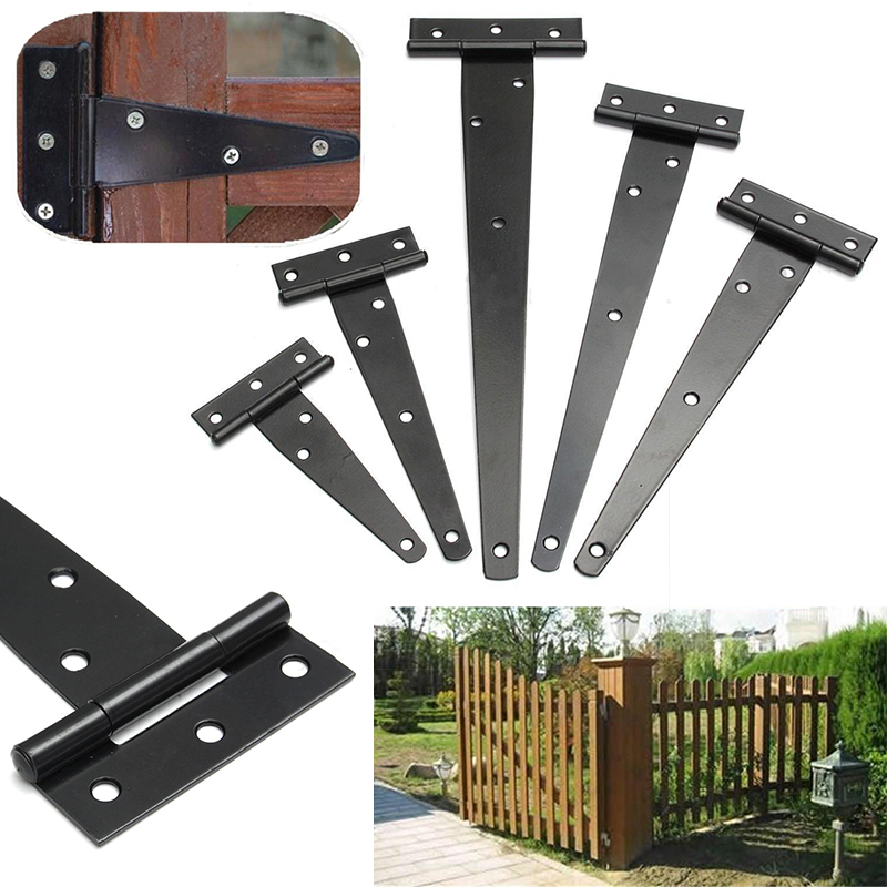 Iron Tee Hinge Black T hinges Cabinet Hinge Garden Shed 4-12inch Wooden Door Gate for Light Gates Doors Furniture Hardware