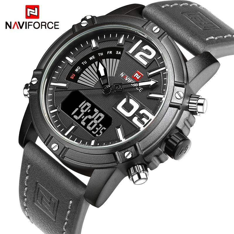 все цены на NAVIFORCE Brand Men Watches Luxury Sport Quartz Digital Watch Men's Waterproof Wristwatches Man Leather Clock Relogio Masculino онлайн