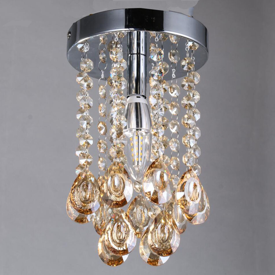 Luxury Mini Small Crystal Chandelier Lighting Fixture With Champagne  Teardrop Crystals For Living Room Closet Bathroom Bedroom