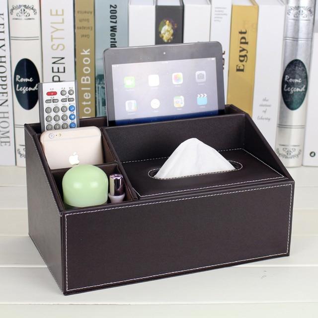 Fashion Leather Desktop Storage Box Living Room Coffee Table Tissue Remote Control Napkin