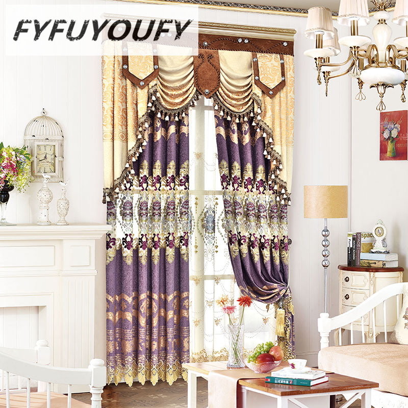 Cortina di jacquard di lusso in ciniglia con tende ricamate con tende - Tessili per la casa