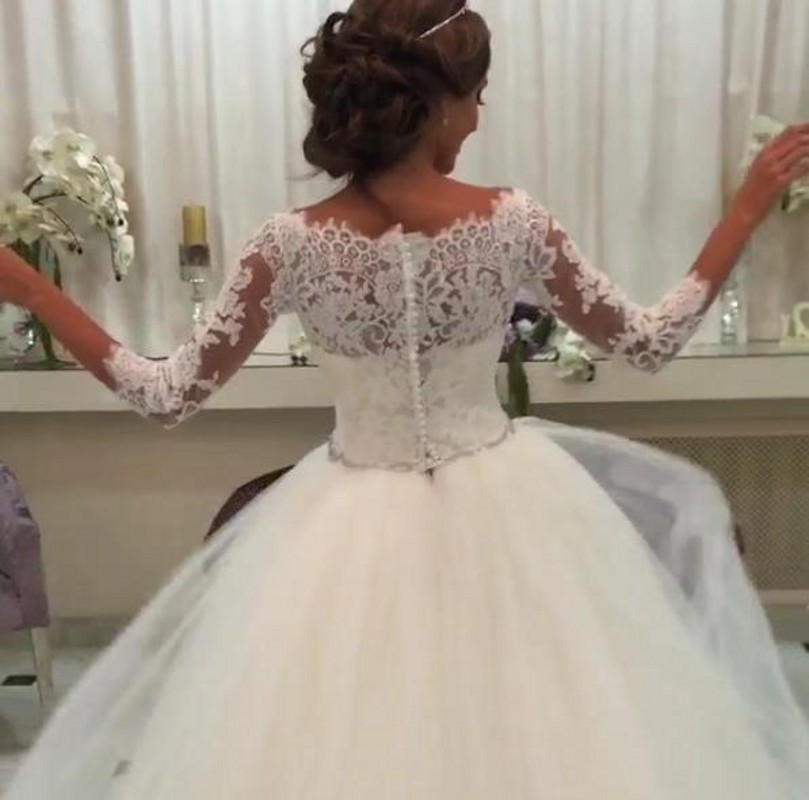 78e3865c4 Ball Gown Boat Neck Lace 3 4 Sleeve Wedding Dresses Ivory Tulle Bride Wear-in  Wedding Dresses from Weddings & Events on Aliexpress.com | Alibaba Group