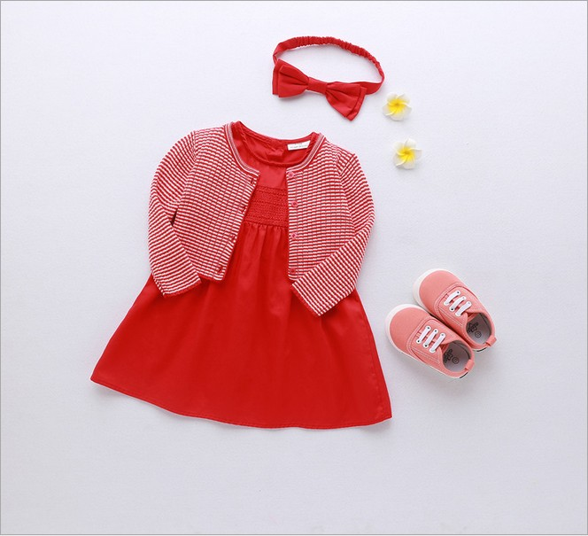 2017 Brand Baby Girl Dress Cotton Red New Year Dresses For 6Month To 4 Year Kids Clothing With Cardigan Headband 3Pcs Set пудра new brand 4 teint 15g 6 nw35 55