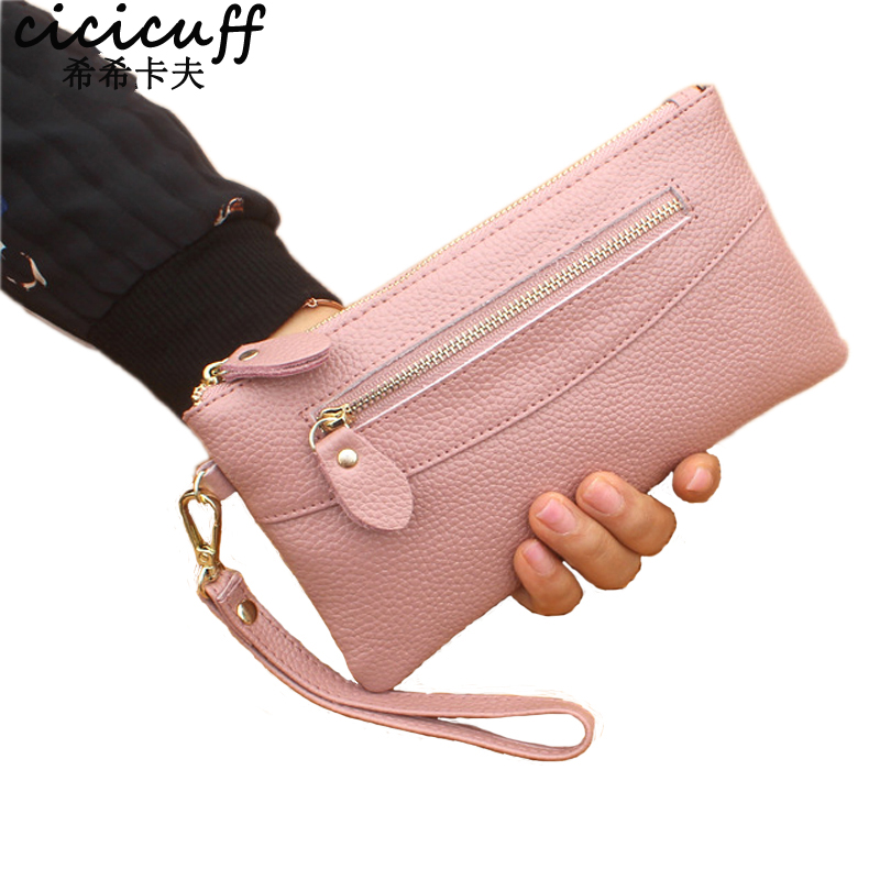 CICICUFF Women's Genuine Leather Day Clutches Female Original Leather Long Zipper Clutch Bag New Real Leather Handbag In 2018