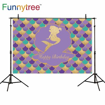 Funnytree backdrop for photography studio Mermaid theme birthday party colorful Scale children professional background photocall image