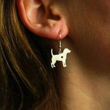 Мин 1 пара ювелирные изделия ручной работы серьги Бигль собака шпильки серебро собака талисманы болтаются Шарм памятный день матери подарок для женщин влюбленных