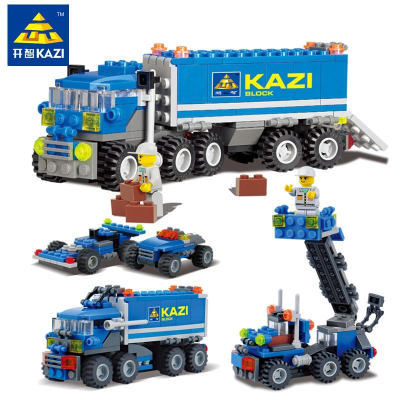 KAZI 163pcs DIY Transport Dumper Truck Assembly Leker Liten Partikler Building Modellblokker Early Educational Toy for Kids