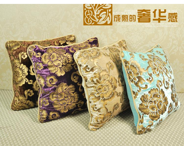 fashion wholesale luxury european velvet fabric soft bronzing cushion covers throw pillow case decorate sofa chair back cushion