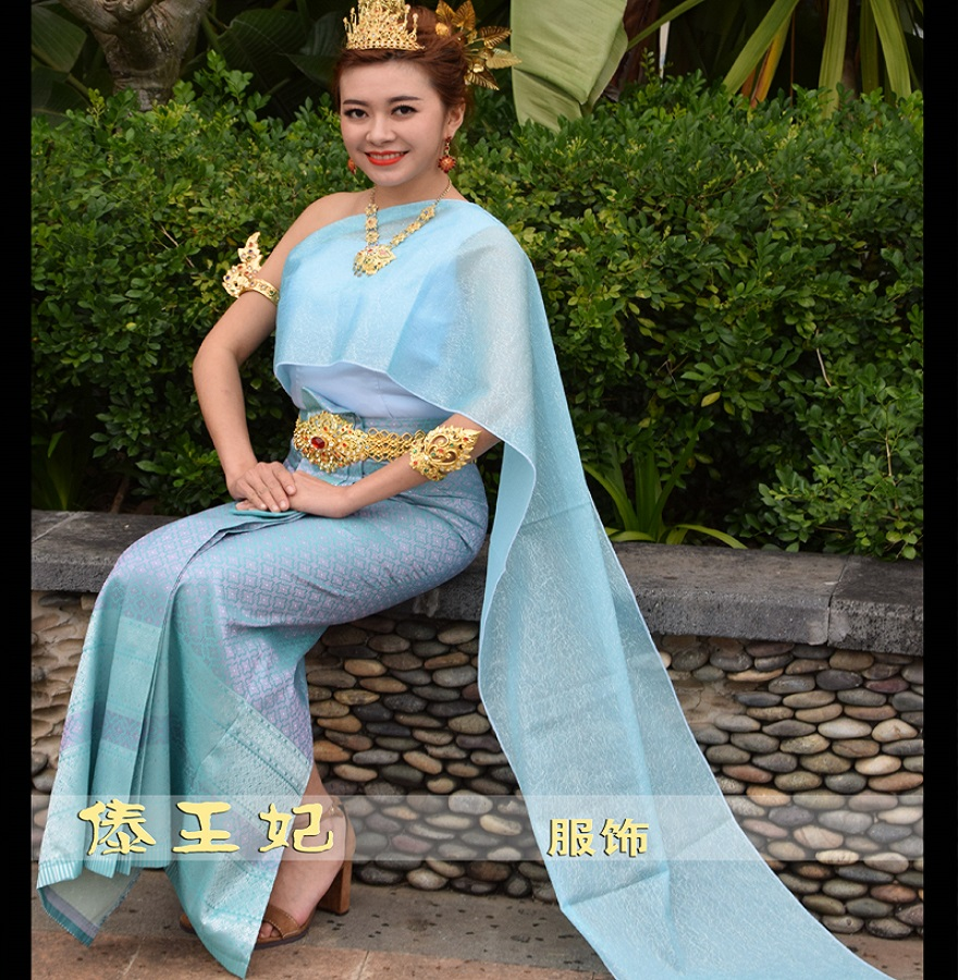 Thailand Vietnam Laos Dai Songkran Thai Traditional Clothing Overalls Welcome Light Blue Slim Pageant Beauty Clothing