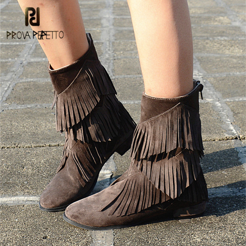 Prova Perfetto Fringed Suede Ladies High Boots Tassels Flat Shoes Woman Ankle Boots for Women Fashion Martin Boots Bottine Femme new fashion womens shoes spring autumn tassels bottine femme suede nubuck leather high heels half boots size 34 39