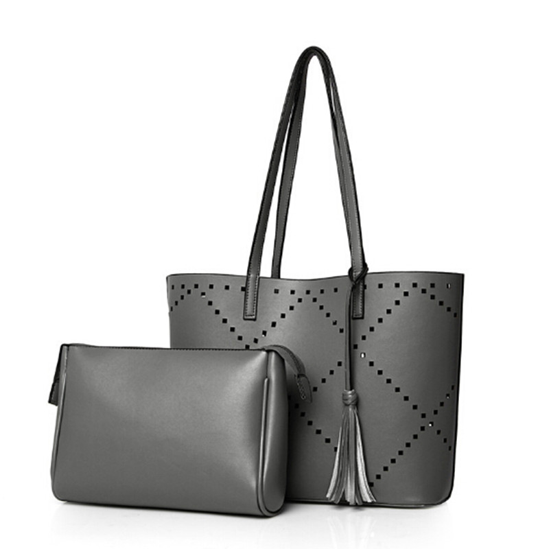 Black Gray Composite Bag Womens Messenger Bags Hollow Out Tote Women font b Handbag b font