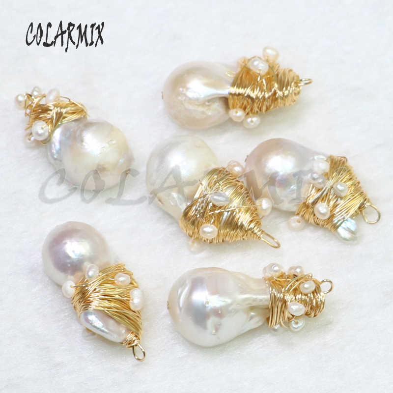 5 個天然真珠石ペンダントビッグパールビーズフリーフォームワイヤーラップネックレスペンダント卸売真珠の宝石女性 9118