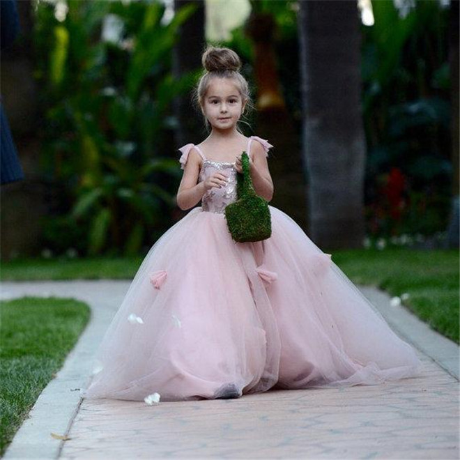 Blush Pink Flower Girls Dresses Appliques Spaghetti Straps Ball Gown Ruffles Tulle Pageant Dresses For Girls Long Girl Dresses
