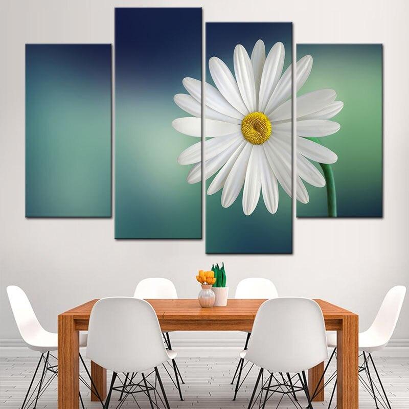 4 Pcs Set Putih Daisy Kanvas Cetak Art Lukisan Gaya Sederhana bunga Gambar  Hijau Tua c300f4f641