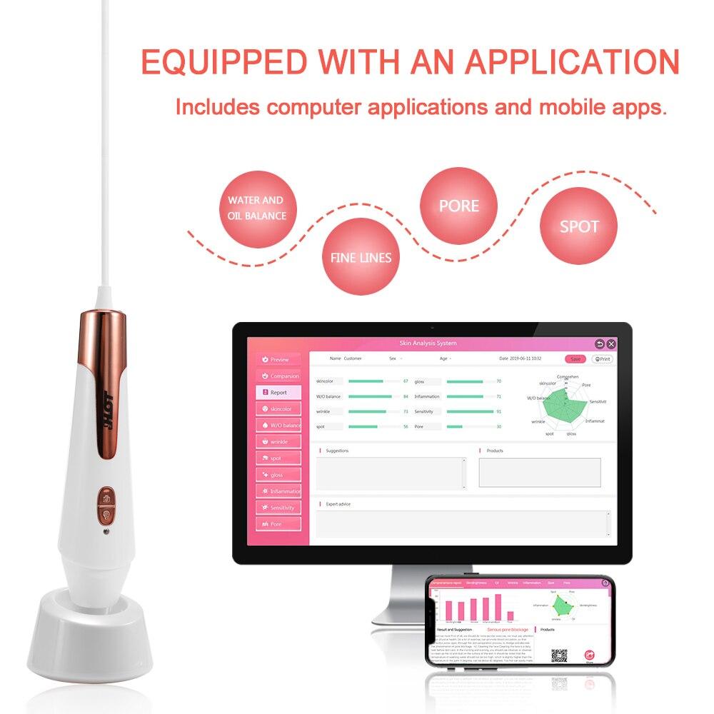 Digitale Feuchtigkeit Monitor Spektrum Automatische Haut Wasser Ölgehalt Analysator Gesichts Automatische Haut Analying Stift mit APP - 6