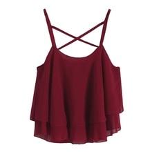 Women Crop Top Summer Beach Short Vest Ruffle Chiffon Tank Tops Camis S09