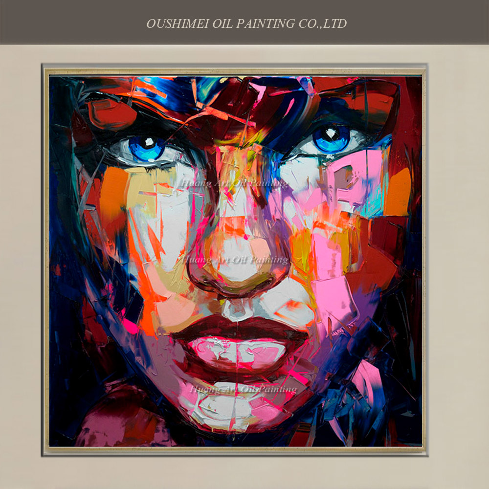New Hand Painted Modern Abstract Knife Sexy Gril Portrait on Canvas Wall Art Oil Painting Mural Picture Famous Character