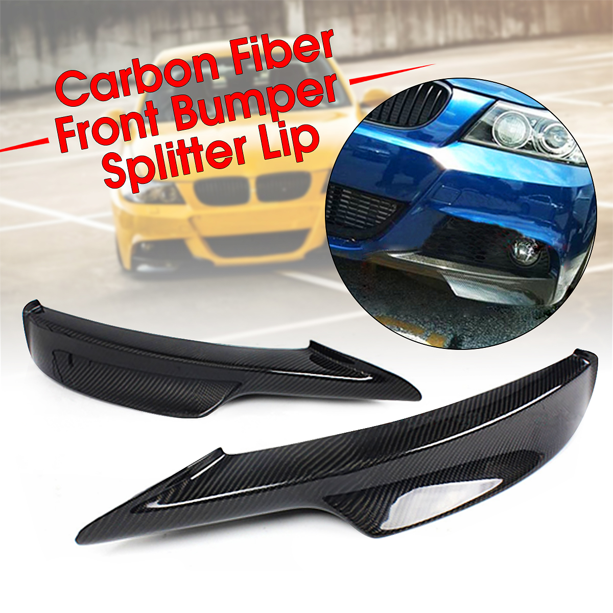 Universal Car Front Bumper Lip Fit For For BMW E90 335i LCI M-Tech Real Carbon Fiber Front Bumper Protector Upper Side Splitter