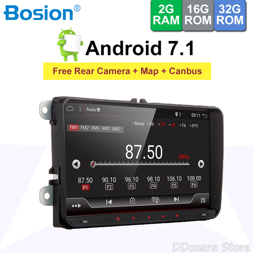 "9"" 2 Din Android 7.1 Car Radio Audio Stereo For Volkswagen VW Passat Polo Golf Head unit Tape Recorder With canbus"